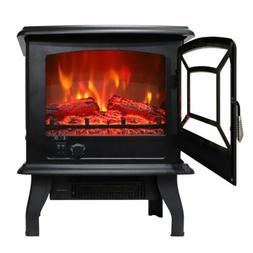 """1400W 17"""" Electric Fireplace Fake Wood Stove Space Heater*Lo"""