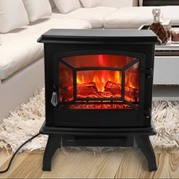 """1400W 17"""" Electric Fireplace Fake Wood Stove Space Heater Lo"""