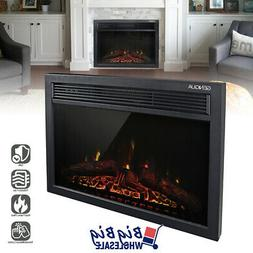 "1400W 24"" Electric Fireplace Heater Insert Freestanding Adju"