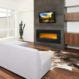 """1400W 42"""" Electric Fireplace Wall Mounted Heater Remote Cont"""