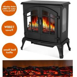 1500w electric fireplace heater wood fire flame