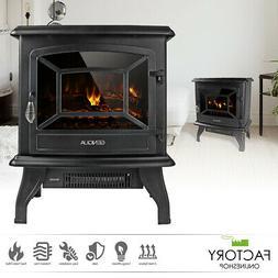 "17"" Electric Fireplace Heater Freestanding Wood Fire LED Fla"