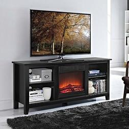 2-in-1 Black Wood TV Stand with Electric Fireplace Space Hea