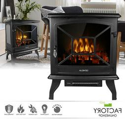"""20"""" Electric Fireplace Heater Freestanding Log Wood Fire LED"""