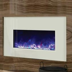Amantii 33-Inch Electric Fireplace Insert with White Glass S