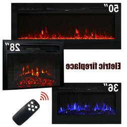 28''/36''/50'' Electric Fireplace Insert Heater Recessed Wal