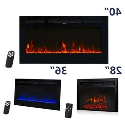 "28"" 36"" 40"" Electric Fireplace Recessed Wall Mount Heater 75"