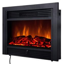 "28.5"" Wall Electric Heater Fireplace Insert Log Flame Remote"