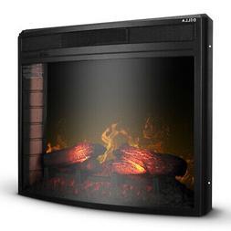 "28"" Electric Firebox Fireplace Heater Insert Curve Glass Pan"