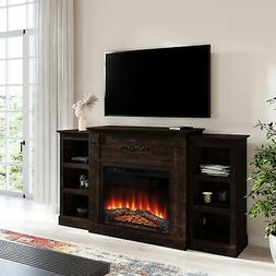 """70"""" Traditional Electric Infrared Fireplace Heater Wood Mant"""