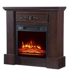32 inch TV Entertainment Stand Brown Wood 1400w Electric Fir