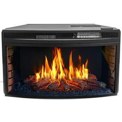 "33"" Black Electric Firebox Fireplace Heater Insert flat Glas"