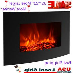 "IKAYAA 35""*22"" Electric Wall Mount Fireplace Heater With Hea"
