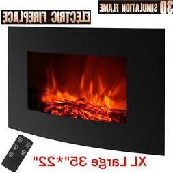 """35"""" Large Electric Wall Mount Fireplace 3D Flame Heater with"""