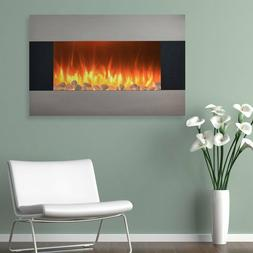 """35"""" Stainless Steel Wall Mount Fireplace Electric Heater Hom"""