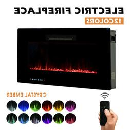 "36"" 750W/1500W Wall Mounted Insert Electric Fireplace Heater"