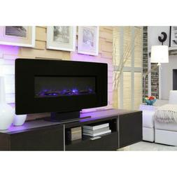 36 In. Glass Curved Front Wall-Mount Electric Fireplace In B