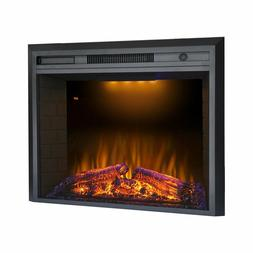 Valuxhome 36 Inches Electric Recessed Fireplace Heater Black
