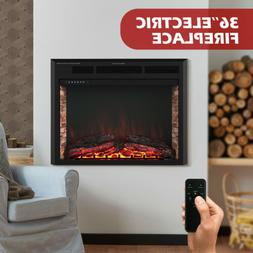 "36"" Insert Electric Fireplace Heater Wall Mounted w/ Remote"