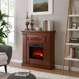 """38"""" Wall Corner Electric Fireplace Heater TV Stand LED Flame"""