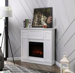 """40"""" Wall Corner Electric Fireplace Cabinet Stand White Heate"""