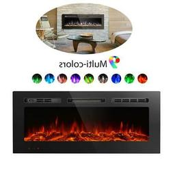 40'' Wall Recessed Electric Fireplace Wall Mounted Heater Lo