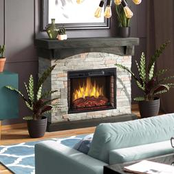 "42"" Electric Fireplace Gray Faux Stone Mantel 4777 BTU Heats"