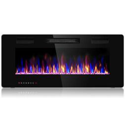 """42"""" Electric Fireplace Recessed Ultra Thin Wall Mounted Heat"""