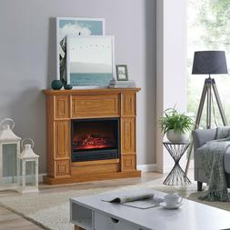 """43.31"""" Electric Fireplace Wood Oak Mantle Heater Stand LED F"""