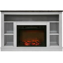 47 In.Electric Fireplace with 1500W Charred Log & A/V Storag