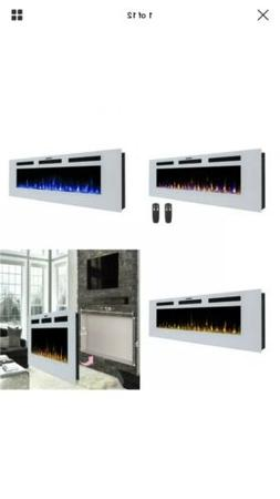 "50"" Electric Fireplace Wall Recessed Heater Crystal Stone Fl"