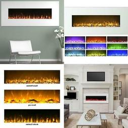50 in. Electric Fireplace Color Changing Wall in White W/ 10