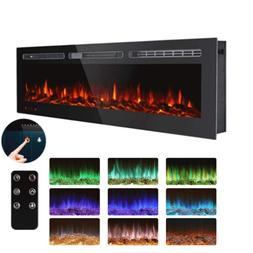 50'' Log&Crystal Recessed Electric Fireplace Low Noise 1500W