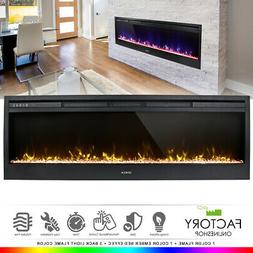 "58"" Electric Fireplace Heat Insert Wall Heater Adjust 3D Cry"
