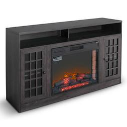 """59"""" Corner Media Infrared Electric Fireplace Heater with Man"""