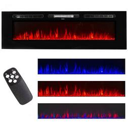 """60"""" Electric Fireplace Wall Mounted Heater Multicolor Flame"""