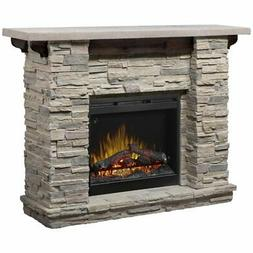 "Bowery Hill 61"" Electric Fireplace Mantel in Faux Ledge Rock"