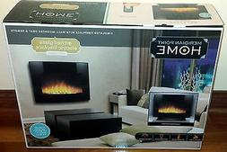 ARCHED GLASS ELECTRIC FIREPLACE WALL-MOUNTED HEATER & REMOTE