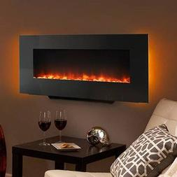 Hearth & Home 38-In Black Linear Wall Mount Electric Firepla