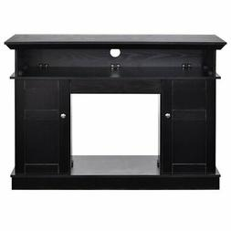 Black Wood 43-inch TV Stand with Electric Fireplace Heater