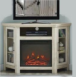 Corner Electric Fireplace TV Stand Storage Shelves Entertain
