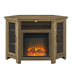 CORNER ELECTRIC FIREPLACE TV CABINET Wooden Entertainment Me
