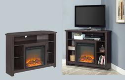 "Corner Electric Fireplace TV Stand up to 60"" Storage Shelve"