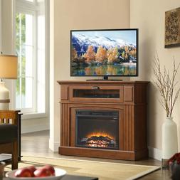 Corner Electric Media Fireplace Brown - Entertainment Center