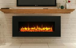 """Black Electric Fireplace Wall Mounted Large 50"""" Vent on Bott"""