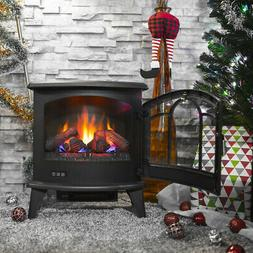 "20"" Electric 1400W Fireplace Heater Fire Flame Stove Wood Fr"