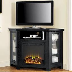 Electric Corner Fireplace TV Stand Black Media Wood Console