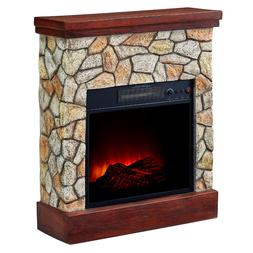 Electric Fireplace Heater Real Flame Stone Mantel TV Stand W