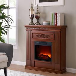 Electric Fireplace Heater TV Stand Real Flame Log Mantel Rea