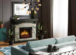 Electric Fireplace Heater With Faux Stone Mantel Adjustable